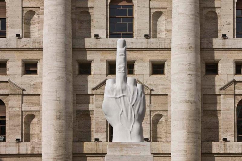Piazza Affari, Milan. Maurizio CATTELAN