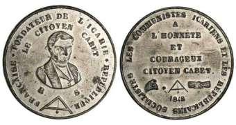 Médaille à l'effigie d'Étienne Cabet, 1848.