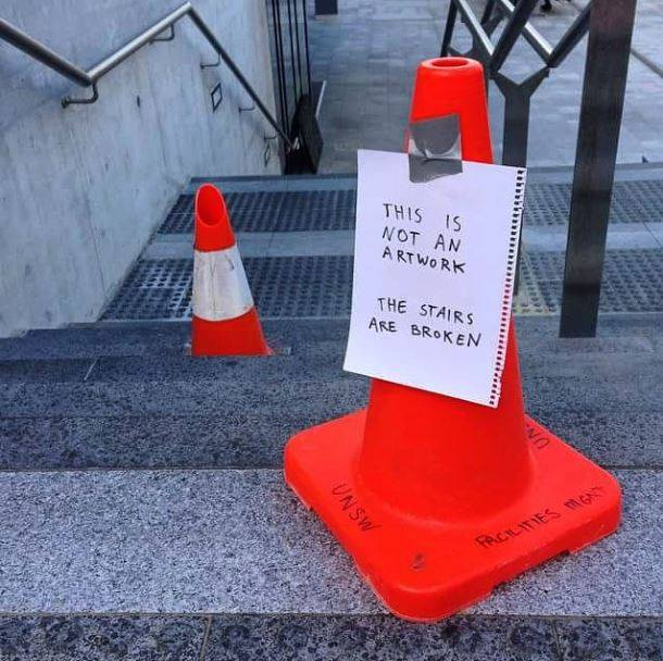 Only at our UNSW Art & Design campus would you have to clarify art vs dangerous obstacle! #thisisnotart #maybeitis