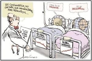 """Le médecin : """"Moins de consumérisme, pas de croissance, moins d'industrie, plus de régulation"""". L'Euro répond """"Je pense que c'est mon diagnostic"""" et la Terre """"... ou mon remède""""."""