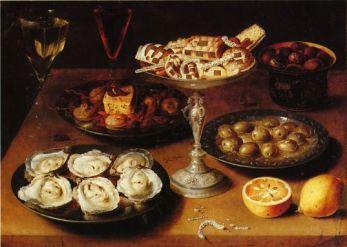 Osias Beert - Nature morte avec huîtres et pâtisserie, 1610