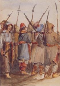 Patriotes à Beauharnois en novembre 1838, lors de la rébellion des patriotes, par Katherine Jane Ellice (aquarelle). Archives nationales du Canada.