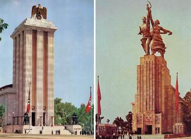 Pavillons nazi et soviétique face-à-face à l'exposition universelle de Paris en 1937