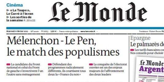 """En France, le journal Le Monde s'est spécialisé dans la dénonciation du """"populisme"""""""