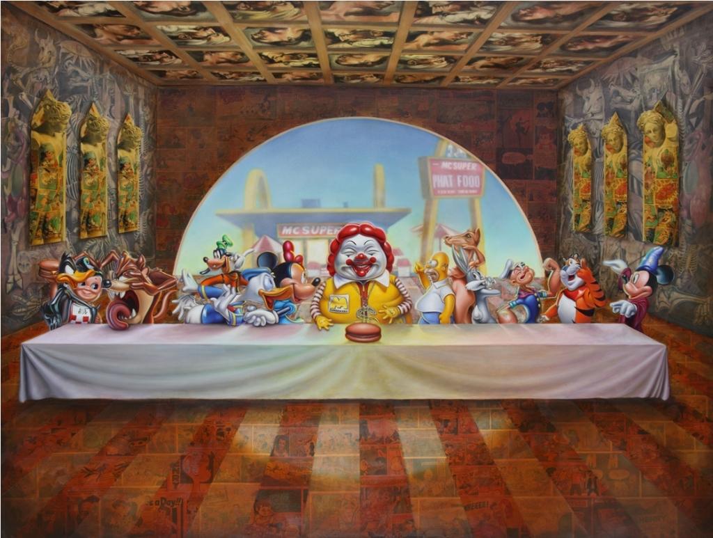 """Ron English qui qualifie son travail de """"POPaganda"""" (POPagande), Super Supper, 2010"""