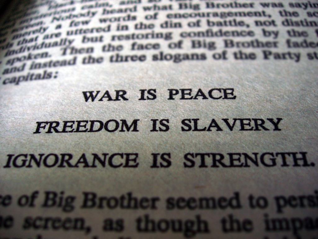 """George Orwell, 1984 : """"La guerre c'est la paix. La liberté c'est l'esclavage. L'ignorance c'est la force"""" Gouvernement français après le 29 mai 2005 : """"Non c'est oui"""""""